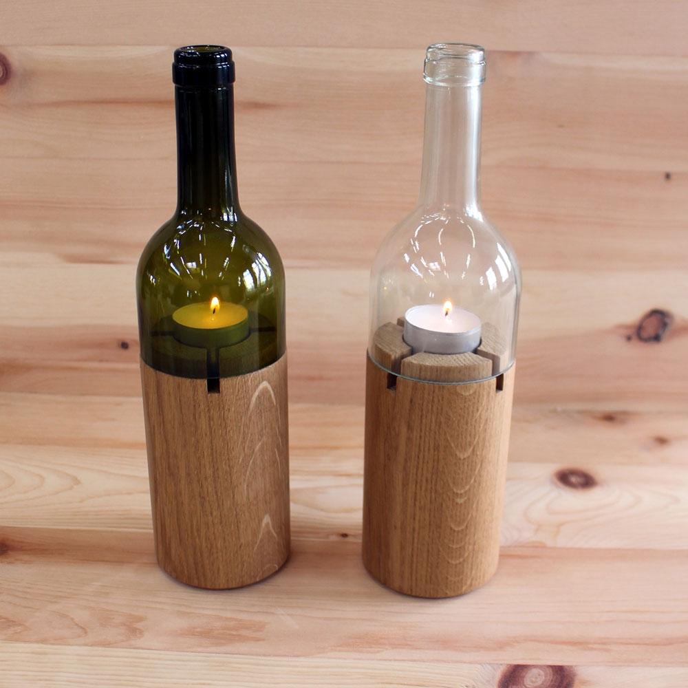 kerzenst nder aus flaschen zirbenholz produkte. Black Bedroom Furniture Sets. Home Design Ideas